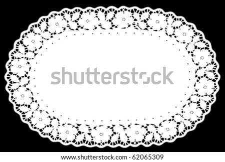Lace Doily Place Mat. Vintage antique rose border pattern, white oval, black background for setting table, holidays, celebrations, scrapbooks, cake decorating, arts, crafts. EPS8 compatible. - stock vector