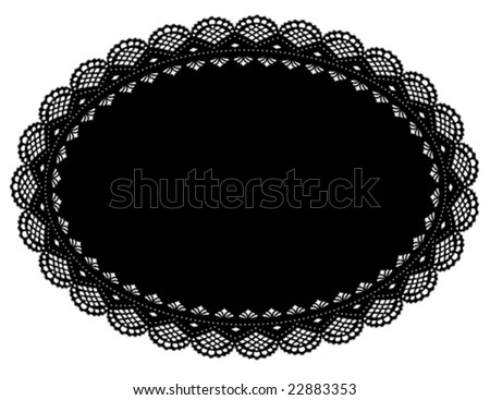 Lace Doily Place Mat, vintage design pattern. Antique oval scalloped border, black oval background for setting table, holidays, celebrations, scrapbooks, cake decorating, arts, crafts. EPS8. - stock vector