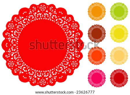 Lace Doily Place Mats, antique vintage design pattern in 9 bright colors with round copy space, for setting table, cake decorating, holidays, crafts, scrapbooks, albums. EPS8 compatible. - stock vector