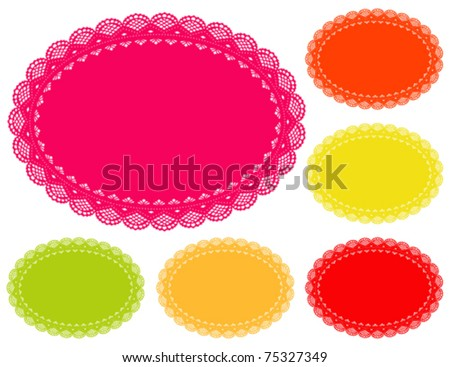 Lace Doily Place Mats, antique vintage design pattern in 6 bright summer colors with oval copy space, for setting table, cake decorating, holidays, crafts, scrapbooks, albums. EPS8 compatible. - stock vector