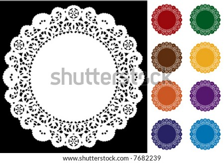 Lace Doily Place Mats, antique vintage design pattern in 8 jewel colors, white on black background, copy space, for setting table, cake decorating, holiday, craft, scrapbooks, albums. EPS8 compatible. - stock vector