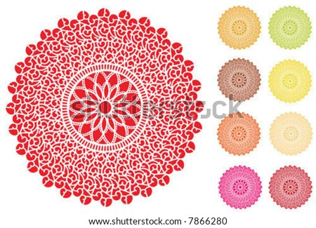 Lace Doily Place Mats, antique vintage filigree design pattern in 9 bright colors, for setting table, cake decorating, holidays, crafts, scrapbooks, albums. EPS8 compatible. - stock vector