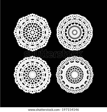 Crochet Patterns Vector : Lace / Doily - set of 4 design elements, wedding pattern ...