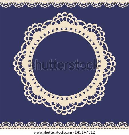 Lace elegance vintage label - stock vector