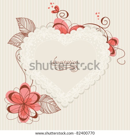 Lace floral heart. Design for romantic invitations or announcements - stock vector
