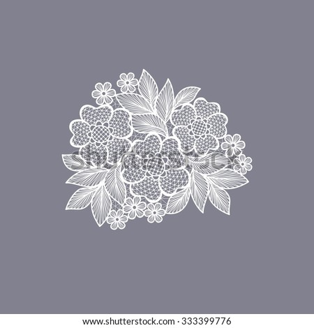lace flowers decoration element - stock vector