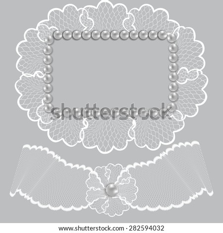 Lace frame decorated with pearls wedding decor - stock vector