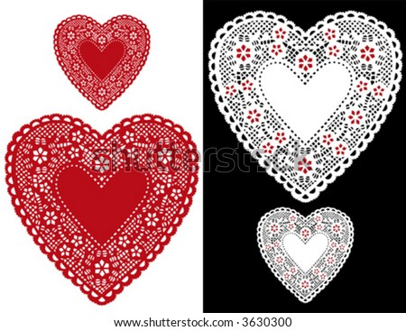 Lace Heart Doilies, vintage pattern, red and white antique designs, baby hearts border, copy space for Valentines Day, Mothers Day, anniversary, birthday, Christmas, scrapbooks, cake decorating. EPS8. - stock vector