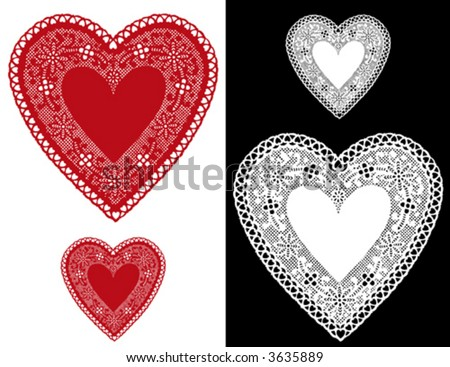 Lace Heart Doilies, vintage pattern, red, white antique designs, baby hearts border, copy space for Valentines Day, Mothers Day, anniversary, birthday, Christmas, scrapbooks, cake decorating. EPS8. - stock vector