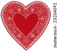 Lace Heart Doily, vintage red design for Valentines Day, Mothers Day, anniversary, birthday, Christmas, albums, scrapbooks, cake decorating, copy space. Isolated on white background. EPS8 compatible. - stock vector