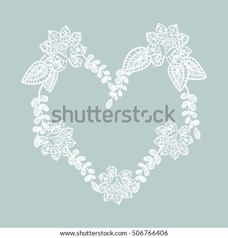 Lace heart. Gentle background with lace pattern in the shape of a heart.