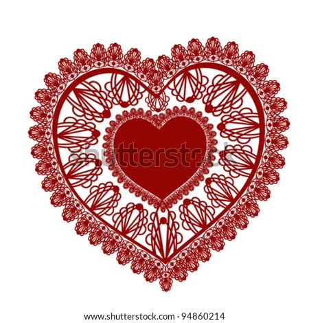 Lace heart on white background - stock vector