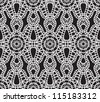 Lace pattern, white seamless vector texture on black background - stock vector
