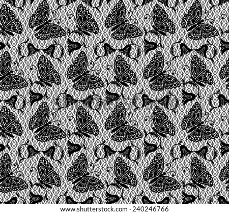 Lace pattern with butterflies on a black background