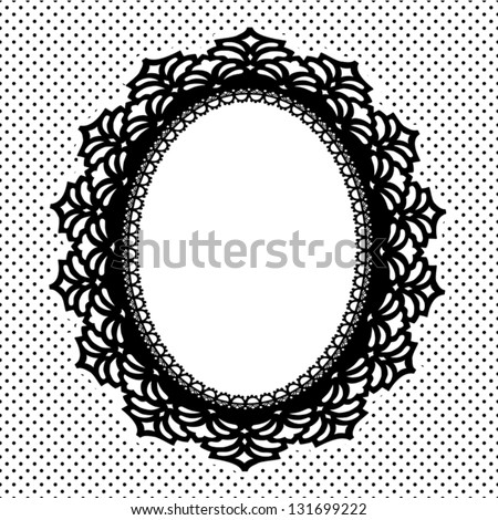 Lace Picture Frame, vintage antique oval doily with polka dot background. Copy space for pictures for albums, scrapbooks, holidays. EPS8 includes pattern swatch that seamlessly fills any shape. - stock vector