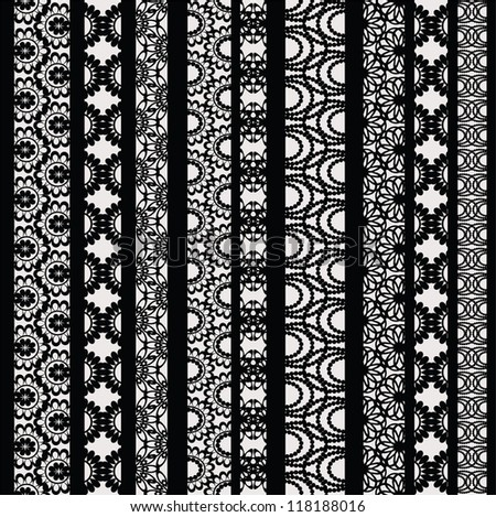 Lace ribbons vector fabric seamless  pattern with different stripes - stock vector