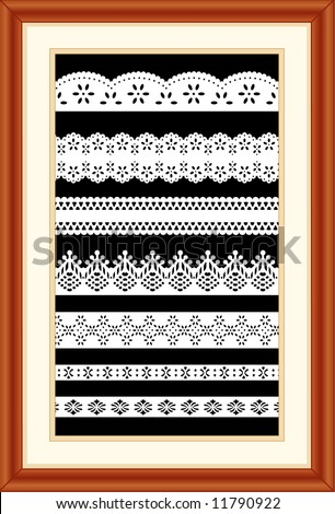 Lace Sampler. Old fashioned antique vintage designs isolated on black background, matted cherry wood picture frame for decorating, scrapbooks, arts, crafts, home decor. EPS8 compatible. - stock vector