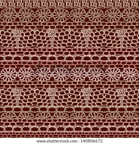 Lace seamless crochet pattern. Vector background. - stock vector