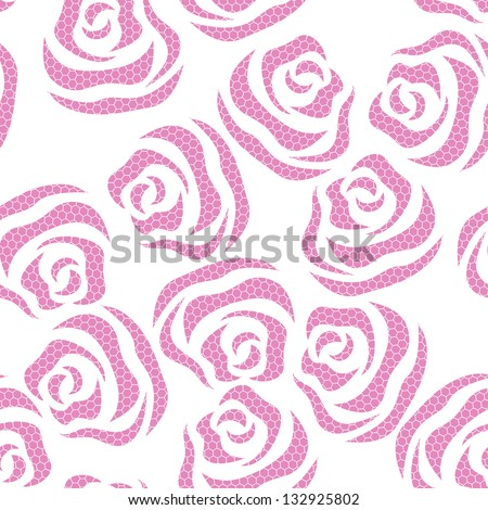 Lace seamless pattern of roses on the white background - stock vector
