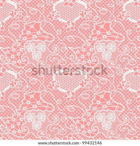Lace seamless pattern with flowers/Lace seamless pattern with flowers on pink background - stock vector