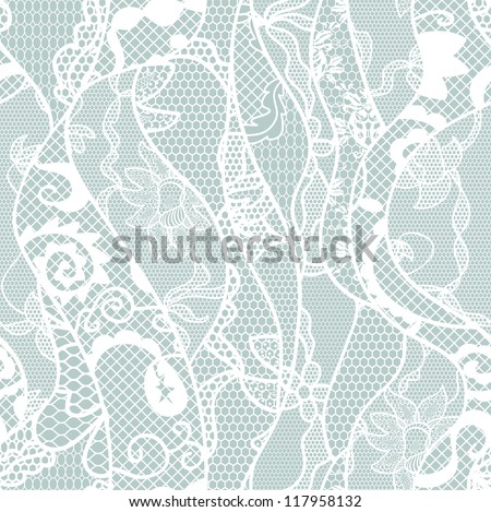 Lace seamless pattern with flowers on blue background - stock vector