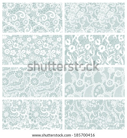 Lace seamless patterns with flowers on blue background - stock vector