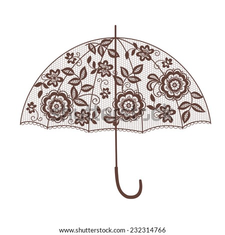 lace umbrella - stock vector