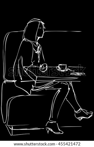 lack and white vector sketch of a girl in a cafe drinking coffee on the couch - stock vector