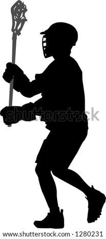 lacrosse player - stock vector