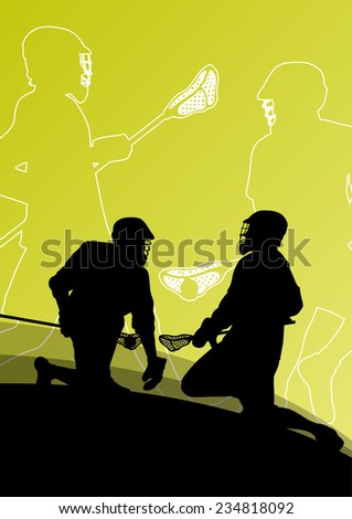 Lacrosse players active young men sport silhouettes vector abstract background illustration