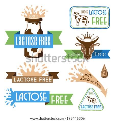 Lactose free design elements  - stock vector