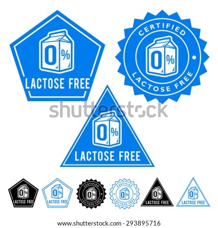 Lactose Free Set of Seal Icons - stock vector