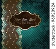 Lacy design with brown label on dark green (eps10); jpg version also available - stock photo
