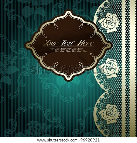 Lacy design with brown label on dark green (eps10); jpg version also available - stock vector