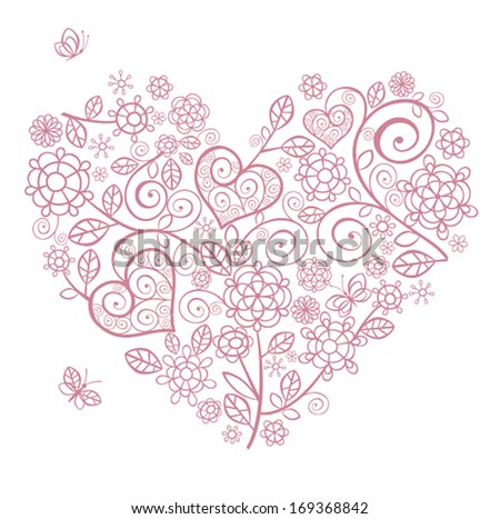 Lacy heart - stock vector