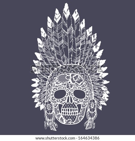 Lacy human skull in native american indian chief headdress. Vector illustration. - stock vector
