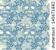 Lacy skull and flowers.Vintage rumpled vector seamless pattern. - stock vector