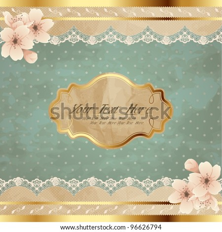 Lacy square banner with flowers (eps10); jpg version also available - stock vector