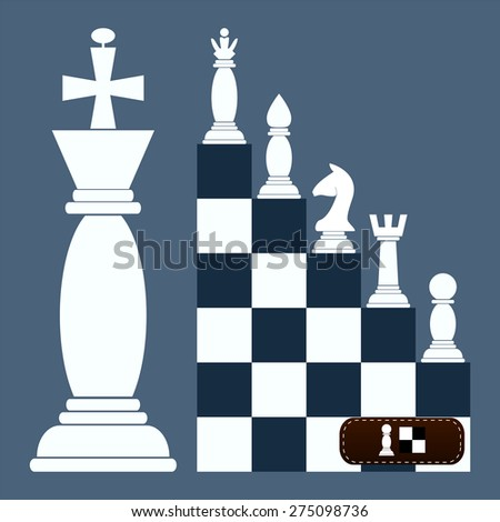 ladder Flat Design Chess Figures. from a pawn to a queen - stock vector