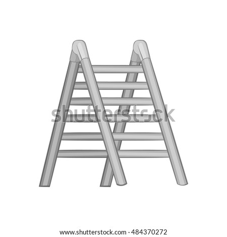 Ladder icon in black monochrome style isolated on white background. Equipment symbol vector illustration