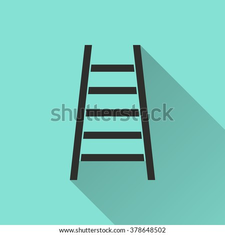 Ladder  icon with long shadow, flat design. Vector illustration.