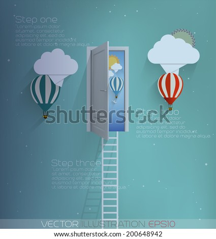 Ladder into the sky-vector illustration
