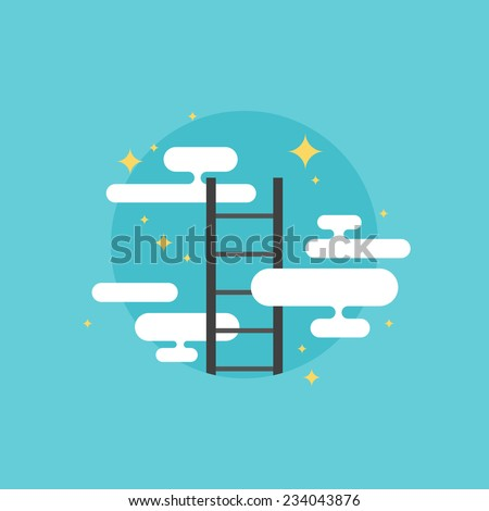 Ladder of success progress symbol, corporate business promotion, personal development strategy for reaching goal. Flat icon modern design style vector illustration concept. - stock vector