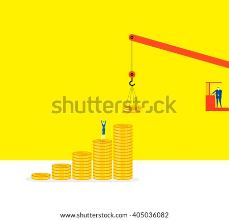 Ladder of success /  Stacking a money ladder of success together. - stock vector
