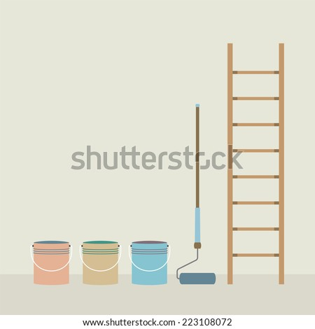 Ladder, Paint Roller And Paint Buckets Home Improvement Vector Illustration - stock vector