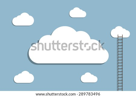 ladder to cloud, creative idea concept. vector illustration