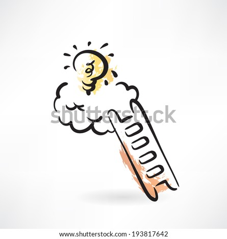 ladder to idea grunge icon - stock vector