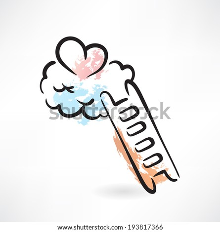 ladder to love grunge icon - stock vector