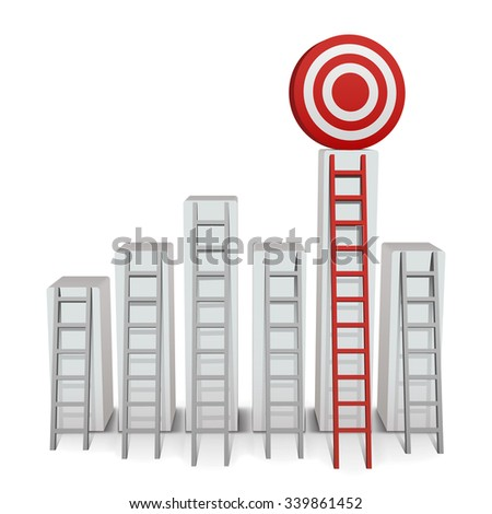 Ladder to middle of target on white background. Vector Illustration - stock vector