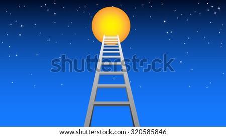 Ladder to moon vector illustration. - stock vector